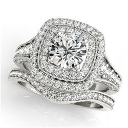 1.93 CTW Certified VS/SI Diamond 2Pc Wedding Set Solitaire Halo 14K White Gold - REF-223H6A - 30909