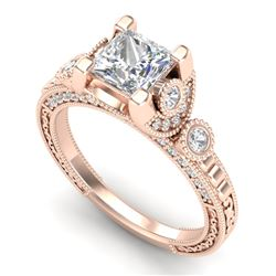 1.75 CTW Princess VS/SI Diamond Art Deco Ring 18K Rose Gold - REF-445T5M - 37149
