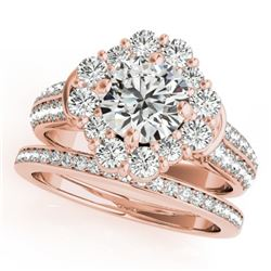 2.22 CTW Certified VS/SI Diamond 2Pc Wedding Set Solitaire Halo 14K Rose Gold - REF-277X8T - 31104