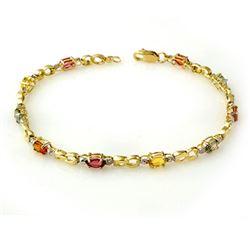 2.51 CTW Multi-Sapphire & Diamond Bracelet 10K Yellow Gold - REF-32W2F - 13845