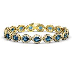 16.59 CTW London Topaz & Diamond Halo Bracelet 10K Yellow Gold - REF-281H6A - 41128