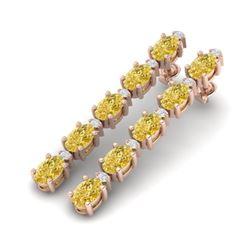 10.36 CTW Citrine & VS/SI Certified Diamond Tennis Earrings 10K Rose Gold - REF-54X9T - 29392