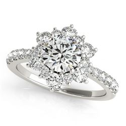 2 CTW Certified VS/SI Diamond Solitaire Halo Ring 18K White Gold - REF-410Y4K - 26503