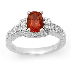 1.58 CTW Pink Tourmaline & Diamond Ring 14K White Gold - REF-70N2Y - 13655