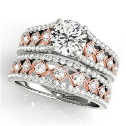 1.76 CTW Certified VS/SI Diamond Solitaire 2Pc Set 14K White & Rose Gold - REF-253K3W - 31927