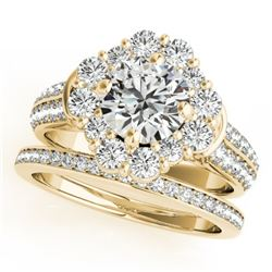 2.22 CTW Certified VS/SI Diamond 2Pc Wedding Set Solitaire Halo 14K Yellow Gold - REF-277N8Y - 31105