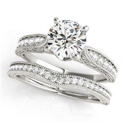 1.7 CTW Certified VS/SI Diamond Solitaire 2Pc Wedding Set Antique 14K White Gold - REF-432T2M - 3150