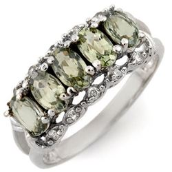 1.80 CTW Green Sapphire & Diamond Ring 10K White Gold - REF-27Y8K - 10302