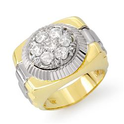 1.50 CTW Certified VS/SI Diamond Men's Ring 18K 2-Tone Gold - REF-222H9A - 14433