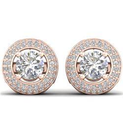 1.75 CTW Certified VS/SI Diamond Art Deco Micro Halo Stud Earrings 14K Rose Gold - REF-207M6H - 3049