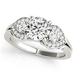 1.7 CTW Certified VS/SI Diamond 3 Stone Ring 18K White Gold - REF-518A8X - 27987
