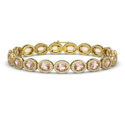 14.25 CTW Morganite & Diamond Halo Bracelet 10K Yellow Gold - REF-294Y2K - 40465