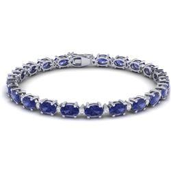 19.7 CTW Tanzanite & VS/SI Certified Diamond Eternity Bracelet 10K White Gold - REF-187K6W - 29379
