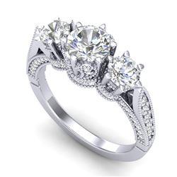 2.18 CTW VS/SI Diamond Art Deco 3 Stone Ring 18K White Gold - REF-296A4X - 37247