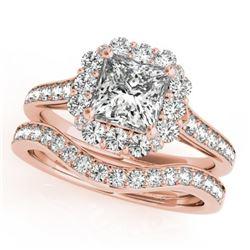 1.75 CTW Certified VS/SI Princess Diamond 2Pc Set Solitaire Halo 14K Rose Gold - REF-455K8W - 31368