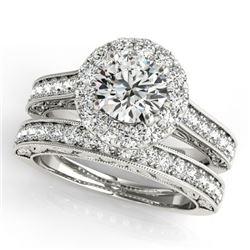 1.81 CTW Certified VS/SI Diamond 2Pc Wedding Set Solitaire Halo 14K White Gold - REF-247W6F - 30948