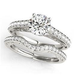 1.61 CTW Certified VS/SI Diamond Solitaire 2Pc Wedding Set 14K White Gold - REF-389X5T - 31760