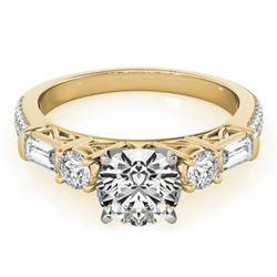 2 CTW Certified VS/SI Diamond Pave Solitaire Ring 18K Yellow Gold - REF-452F2N - 28109
