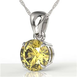 2 CTW Citrine Designer Inspired Solitaire Necklace 18K White Gold - REF-26M2H - 22018