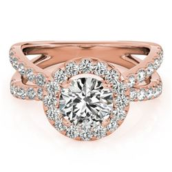 1.51 CTW Certified VS/SI Diamond Solitaire Halo Ring 18K Rose Gold - REF-176W5F - 26764