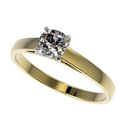 0.50 CTW Certified VS/SI Quality Cushion Cut Diamond Solitaire Ring 10K Yellow Gold - REF-64F3N - 32