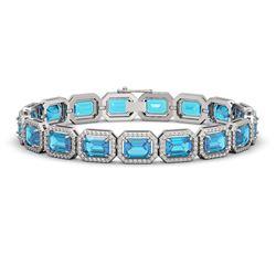 23.66 CTW Swiss Topaz & Diamond Halo Bracelet 10K White Gold - REF-311K3W - 41411