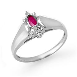 0.22 CTW Ruby & Diamond Ring 10K White Gold - REF-13W3F - 12390