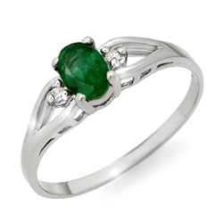 0.56 CTW Emerald & Diamond Ring 18K White Gold - REF-18X9T - 12445
