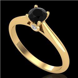 0.4 CTW Fancy Black Diamond Solitaire Engagement Art Deco Ring 18K Yellow Gold - REF-33Y6K - 38180
