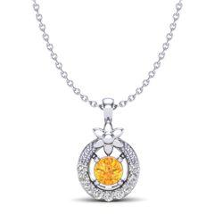 0.20 CTW Citrine & Micro Pave VS/SI Diamond Halo Necklace 18K White Gold - REF-22H8A - 20361