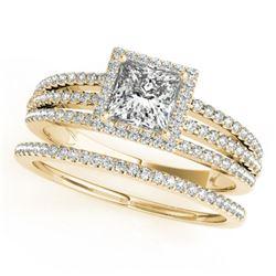 1.3 CTW Certified VS/SI Princess Diamond 2Pc Set Solitaire Halo 14K Yellow Gold - REF-242Y9K - 31387