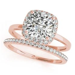 1.33 CTW Certified VS/SI Cushion Diamond 2Pc Set Solitaire Halo 14K Rose Gold - REF-431K3W - 31413