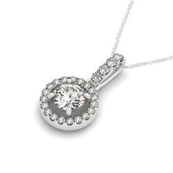0.72 CTW Certified SI Diamond Solitaire Halo Necklace 14K White Gold - REF-98F8N - 30095
