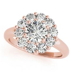 1.38 CTW Certified VS/SI Diamond Solitaire Halo Ring 18K Rose Gold - REF-226Y2K - 27013