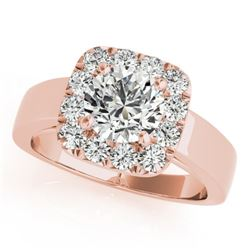 1.3 CTW Certified VS/SI Diamond Solitaire Halo Ring 18K Rose Gold - REF-258F8N - 26896