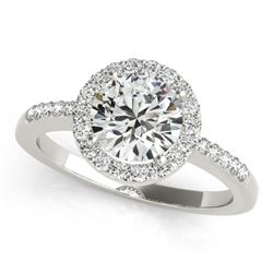 1.01 CTW Certified VS/SI Diamond Solitaire Halo Ring 18K White Gold - REF-205T3M - 26323