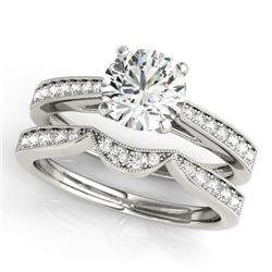 0.94 CTW Certified VS/SI Diamond Solitaire 2Pc Wedding Set 14K White Gold - REF-135T6M - 31724