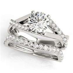1.06 CTW Certified VS/SI Diamond Solitaire 2Pc Wedding Set 14K White Gold - REF-137M3H - 31619