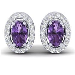 0.75 CTW Amethyst & Micro Pave Earrings Halo 18K White Gold - REF-34W5F - 21177