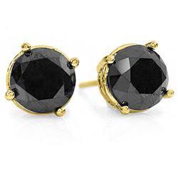 3.0 CTW VS Certified Black Diamond Solitaire Stud Earrings 14K Yellow Gold - REF-102X9T - 14136