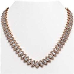 47.12 CTW Marquise Diamond Designer Necklace 18K Rose Gold - REF-8739N5Y - 42831