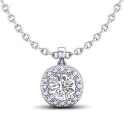 1.1 CTW VS/SI Diamond Solitaire Art Deco Stud Necklace 18K White Gold - REF-218N2Y - 37121