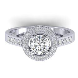 1.45 CTW Certified VS/SI Diamond Art Deco Micro Halo Ring 14K White Gold - REF-217A3X - 30486