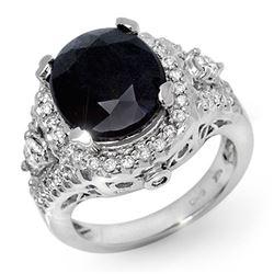 8.65 CTW Blue Sapphire & Diamond Ring 14K White Gold - REF-139N3Y - 11918