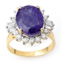 8.03 CTW Tanzanite & Diamond Ring 14K Yellow Gold - REF-285M6H - 10428