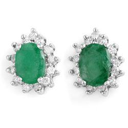 3.85 CTW Emerald & Diamond Earrings 14K White Gold - REF-65Y3K - 13731