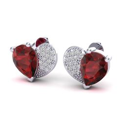 2.50 CTW Garnet & Micro Pave VS/SI Diamond Earrings 10K White Gold - REF-30Y2K - 20075