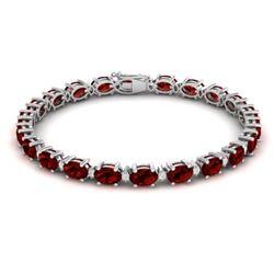 25.8 CTW Garnet & VS/SI Certified Diamond Eternity Bracelet 10K White Gold - REF-119W3F - 29452