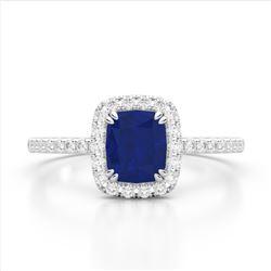 1.25 CTW Sapphire & Micro Pave VS/SI Diamond Halo Ring 10K White Gold - REF-34A2X - 22910