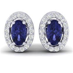 0.70 CTW Tanzanite & Micro Pave VS/SI Diamond Earrings Halo 18K White Gold - REF-30W2F - 21196